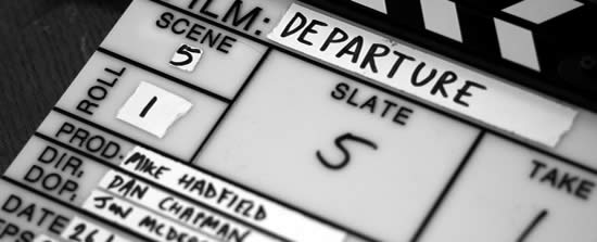 Spiderhouse film slate for DEPARTURE